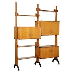 Bookcase Veneered Wood Solid Teak Enamelled Metal, Italy, 1960s
