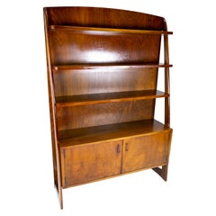 Bookcase with Cabinet Beneath in Walnut of Danish Design from the 1950s