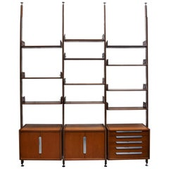 Bookcase with Wooden Structure with Aluminum Details, Italy, 1950s