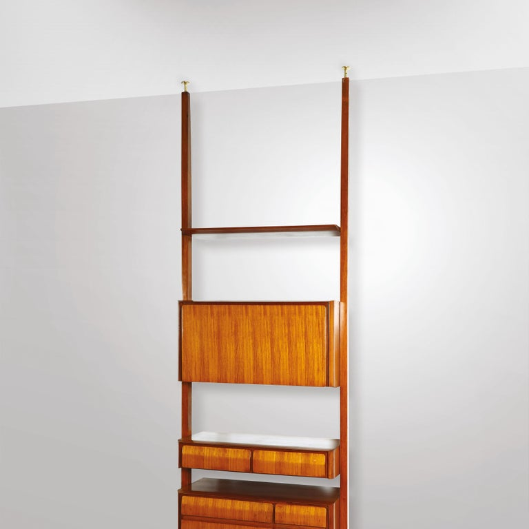 Brass Vittorio Dassi Midcentury  Wood and White Maple Wood Italian Bookcase, 1950s For Sale