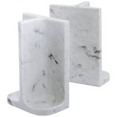 Bookends Charles & Elie in Carrara Marble