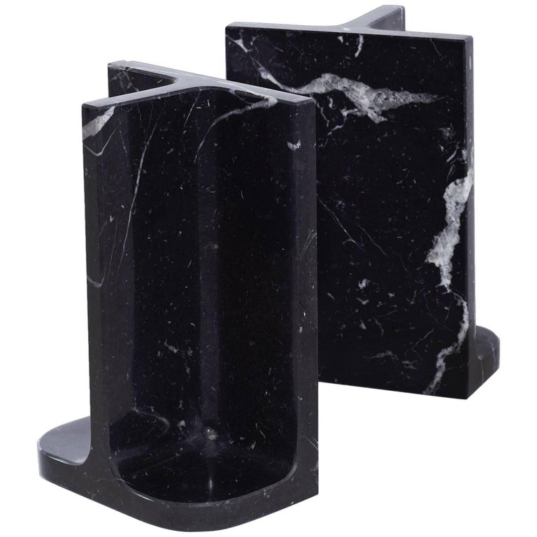 Bookends Charles & Elie in Marquina Marble For Sale