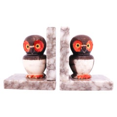 Bookends, Owls Made of Alabaster, Italy