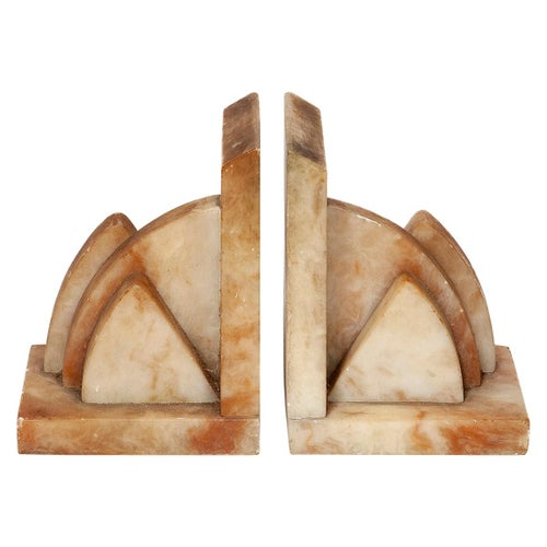 Bookends Pair Marble Art Deco Architectural Ochre