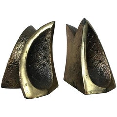 Mid Century Modern Bookends with Etched Modernist Designs After Ben Seibel