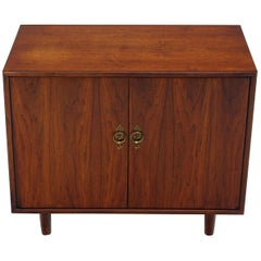Bookmatched Front Walnut Veneer Brass Hardware Small Two-Door Credenza Cabinet