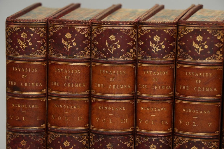 Leatherbound. Eight volumes. Bound in full wine calf with marbled edges and raised bands & gilt tooling on spines. Very good. Published in Edinburgh & London by William Blackwood & Sons in 1863.
