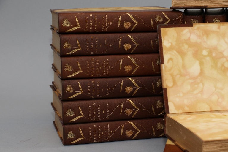 20 volumes. Titles include Louis XV-XVI, Empress Josephine, Henry IV, Marie Antoinette, etc. Bound in 3/4 tan Morocco with marbled boards, top edges gilt, and ornate floral gilt on spines. Beautifully illustrated! Published in Boston by L.C. Page &