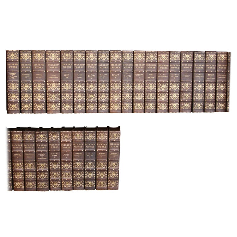 Books.  Charles Dickens Complete Writings, Leather-Bound Antique Collection Set. For Sale