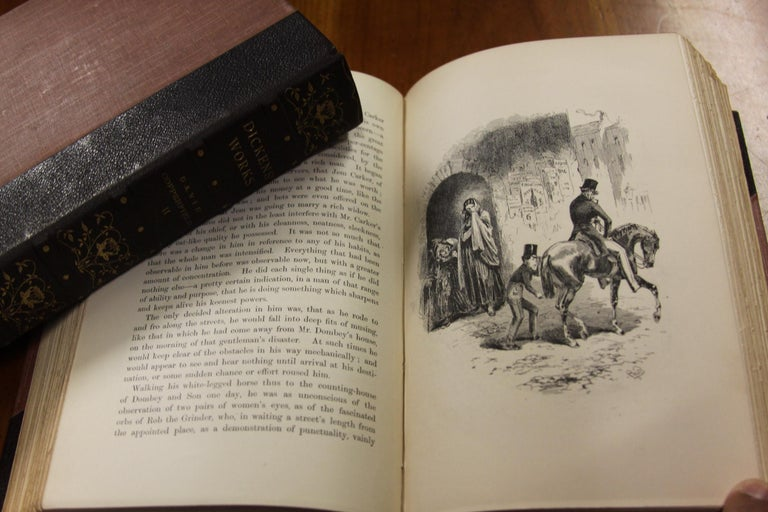 Books, Charles Dickens Complete Writings, Leather-Bound Antique Collection Set For Sale 7