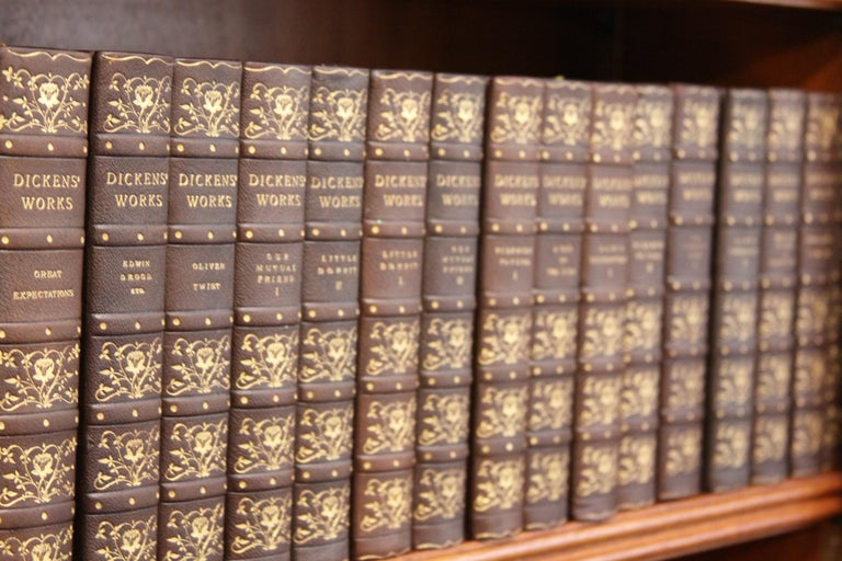 Books, Charles Dickens Complete Writings, Leather-Bound Antique Collection Set In Excellent Condition For Sale In New York, NY