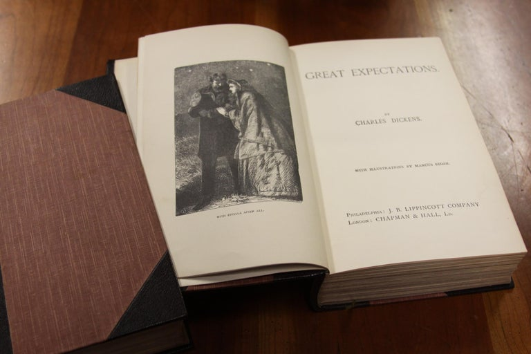 Books, Charles Dickens Complete Writings, Leather-Bound Antique Collection Set For Sale 4