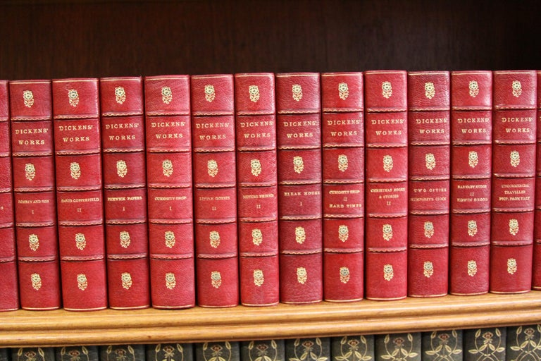 Gilt Books. Leather Bound  Antiques Collection. The Writings of Charles Dickens For Sale