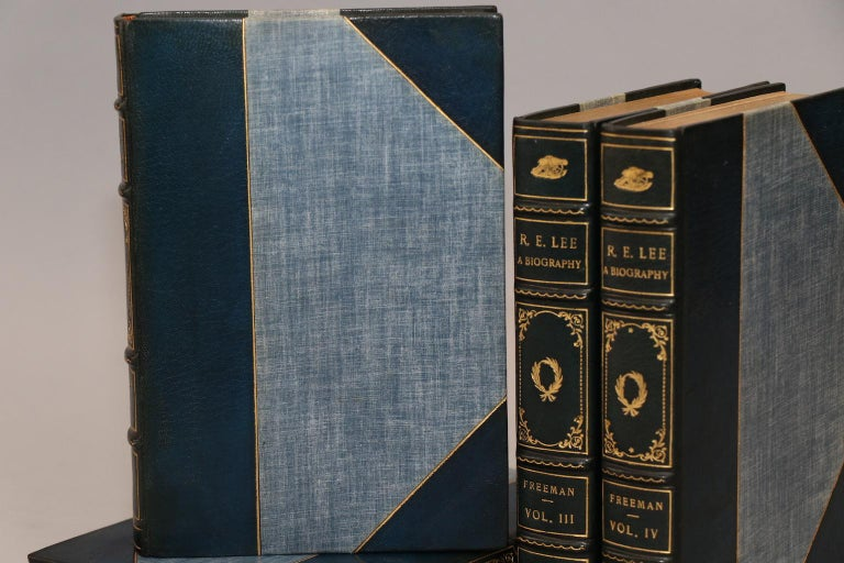 4 volumes. Bound in 3/4 blue Morocco with top edges gilt, raised bands, and gilt panels. Published in New York in 1945 by Charles Scribner's Sons.