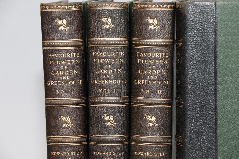Leatherbound. Four volumes. Bound in three quarter green morocco with top edges gilt, raised bands, and gilt panels. Illustrated with 300 hand-colored plates by D. Bois. Very good. Published in London by Frederick Warne & Co. in 1896.  Botanicals,