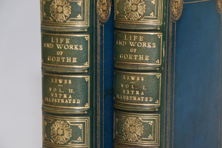 Leatherbound. Two volumes. Octavo. Bound by Root & Son in full blue morocco with top edges gilt, raised bands, & gilt tooling on covers & spines. With sketches of his age and contemporaries with two frontispieces and extra-illustrated by the