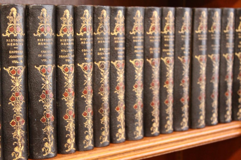 Collections of Leather bound Antiques  Books , Historic Memoirs of the Europe  In Good Condition For Sale In New York, NY