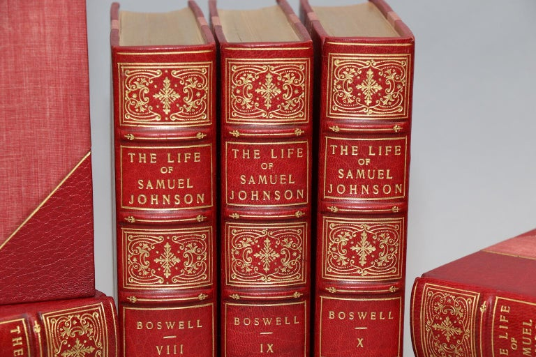 Temple bar edition. Leather bound. Ten volumes. Octavo. Limited to seven-eighty five copies, this is #541. Bound in three quarter red morocco, top edges gilt, raised bands, and ornate gilt tooling on spines. Illustrated pictures. Very good.