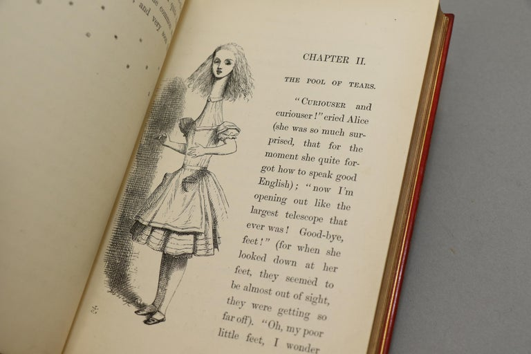 Leather Books, Lewis Carroll's 'Alice in Wonderland' & 'Through the Looking Glass' For Sale