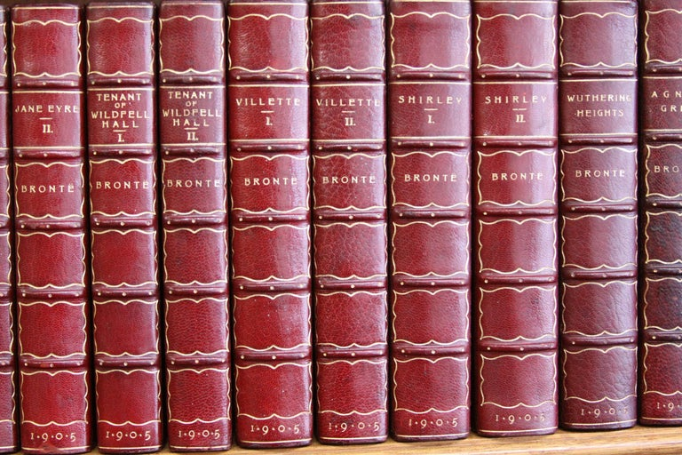 Books. Collection Leather Bound Antiques Books.  The Novels of the Bronte Sister In Excellent Condition For Sale In New York, NY