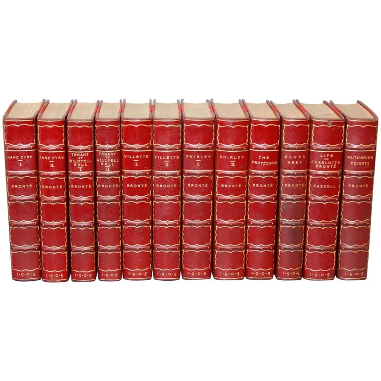 Books. Collection Leather Bound Antiques Books.  The Novels of the Bronte Sister For Sale