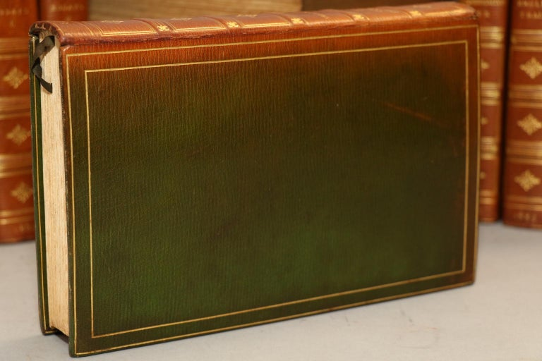 Riverside edition! Limited to 500 copies, this is #286. 11 volumes bound in full green Morocco with top edges gilt, raised bands, & gilt panels on spines. Spines have faded to an even tan color. Includes frontispiece. A very handsome set! Published