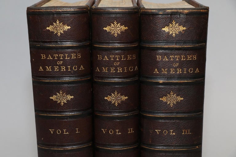 3 volumes. Large thick quartos. First Edition! Bound in 3/4 brown Morocco with marbled edges, raised bands, and gilt panels on spine. Includes biographies of multiple naval and military commanders. Also features numerous steel engravings throughout.