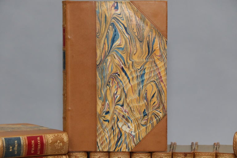 Illustrated cabinet edition. Leatherbound. Forty-eight volumes. Bound in three quarter tan calf with marbled boards, top edges gilt, and raised bands and gilt panels on spine. Very good. Published in Boston by Dana Estes & Co. in 1893.  Not all