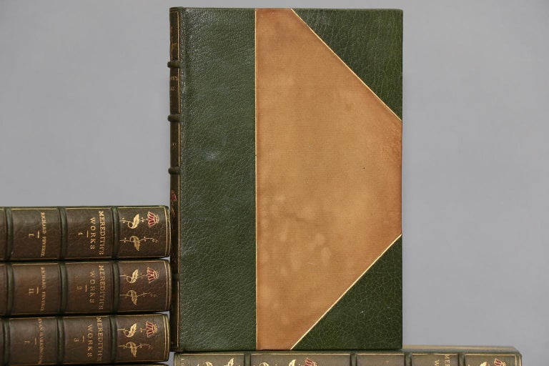 Leatherbound. 32 volumes. Bound in three-quarter green morocco leather with marbled boards, top edges gilt, raised bands, and ornate floral gilt tooling on spines. Very good. Published in Westminster by Archibald Constable & Co. in 1896.