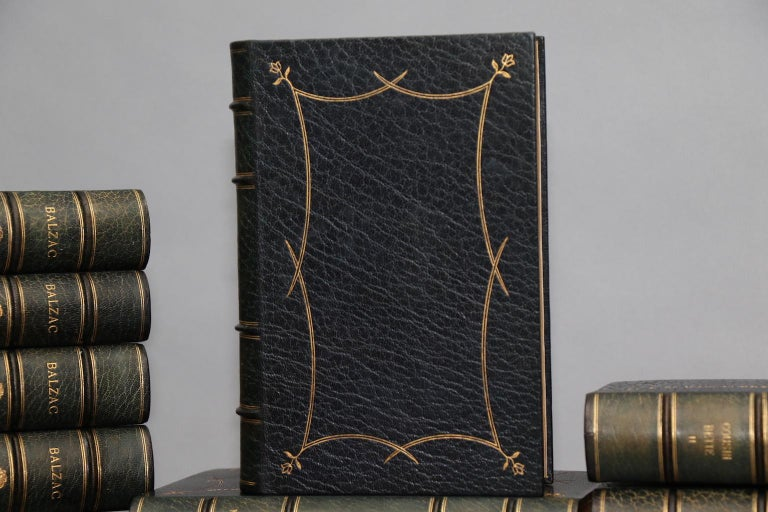Leatherbound. 53 volumes. Limited to 7 copies, this is #3. Exquisitely bound in full blue morocco, with green morocco gilt doublers, watered silk linings, and all edges gilt. Plates in four states: one on Japanese Vellum, one on India Paper, one on