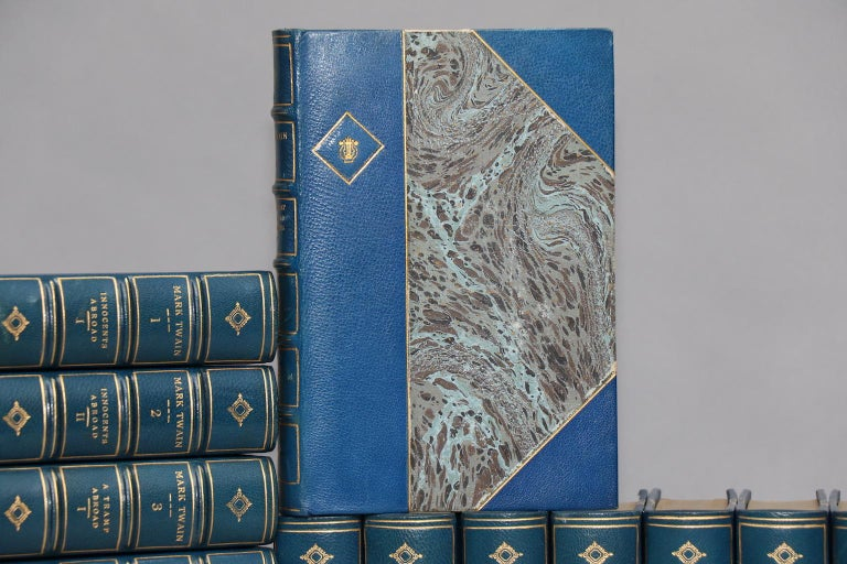 Leather bound. 25 volumes. Bound in three-quarter turquoise morocco leather with marbled boards, top edges gilt, raised bands, and gilt panels on spines. Illustrated throughout. A handsome set of a classic American author! Very good. Published in