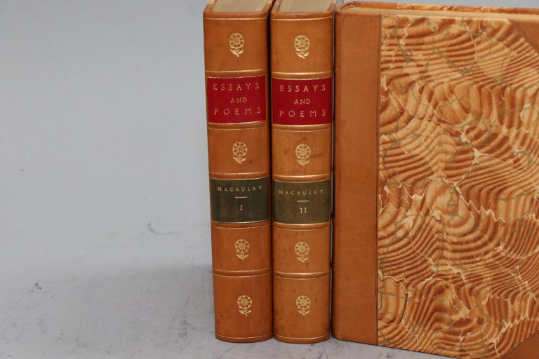 Leatherbound. 3 volumes. Bound in three quarter tan calf with marbled boards, top edges gilt, red and green labels, and gilt panels on spines. Very good. Published in Philadelphia by David McKay. N.D., circa 1900.  All listed dimensions are for a