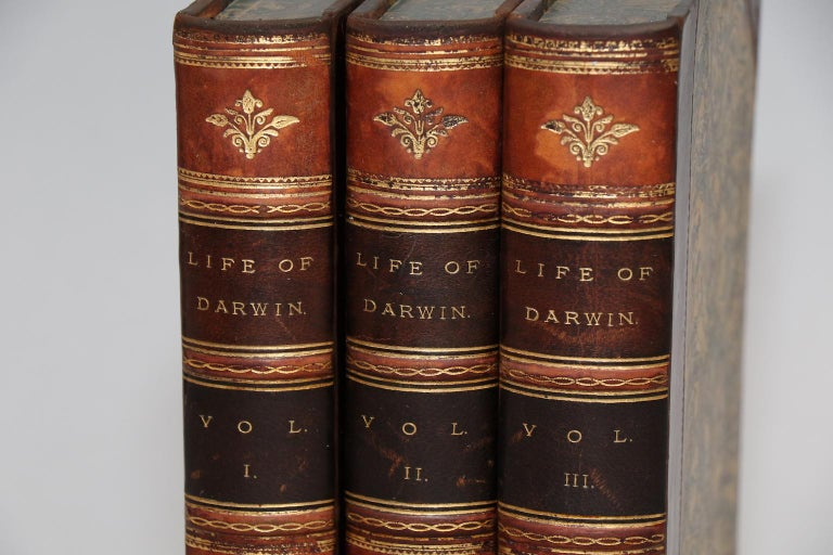 Leather bound. Three volumes. Octavo. Bound in three quarter tan calf with marbled boards, marbled edges, and raised bands. Edited by his son Francis Darwin. Very good. Published in London by John Murray in 1887.
