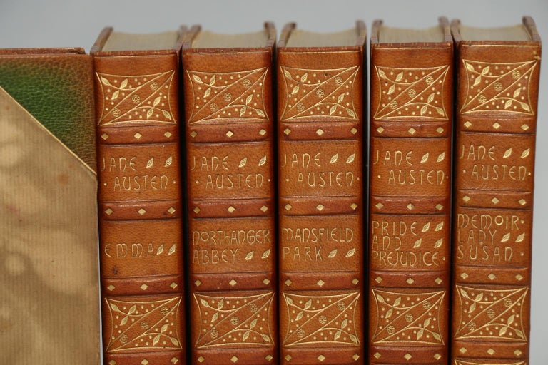 Leatherbound. Six volumes. Bound in three quarter green morocco by Sotherans with marbled boards, top edges gilt, and raised bands & ornate gilt tooling on spines. Very good. Published in London by Richard Bentley & Son in 1886.  All listed