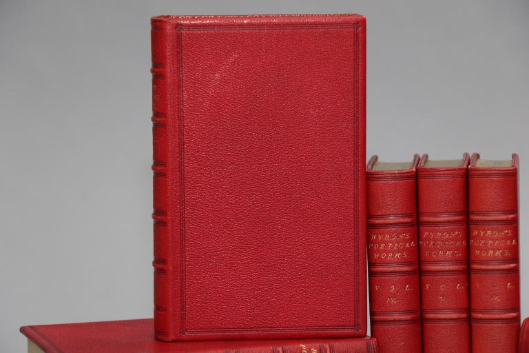 10 volumes. Small octavos. Bound in full red morocco leather with raised bands on spines and all edges gilt. Also illustrated throughout. Very good. Published in London by John Murray in 1878.  Lord Byron (1788-1824) was an English poet, peer, &