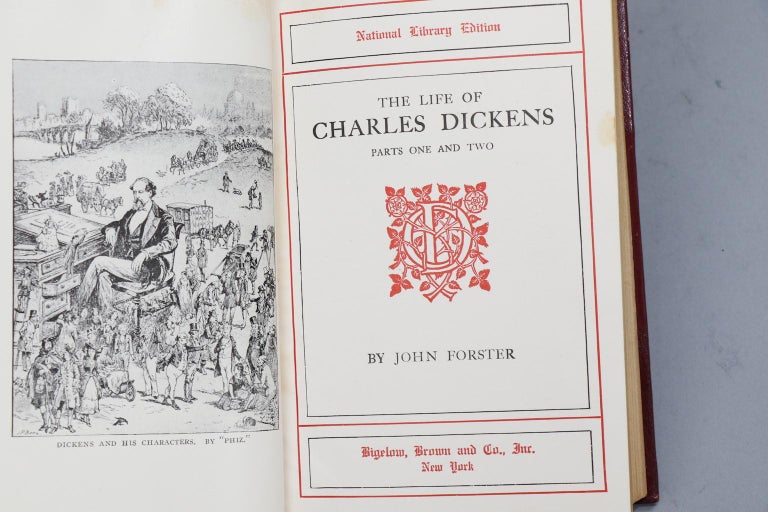 Leather Books, The Works of Charles Dickens  National Library Edition For Sale