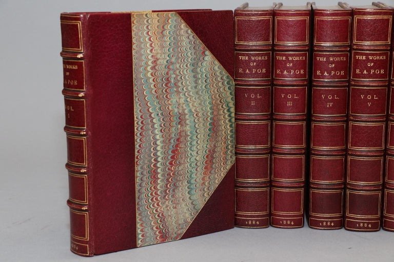 8 volumes. The Amontillado Edition! Limited to 315 copies, this is #254. Bound in 3/4 wine Morocco by Sangorski and Sutcliffe with top edges gilt, raised bands, and gilt panels. Illustrated. Published in New York by George P. Putnam's Sons in 1884.