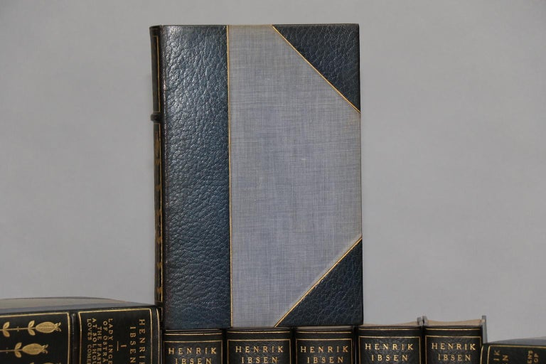 Leatherbound. 16 volumes. Limited to 256 copies printed on Ruisdael handmade paper, this is #26. Signed by Charles Scribner's Sons. Bound in three-quarter blue morocco leather by Stikeman & Co. with top edges gilt, raised bands, and gilt floral