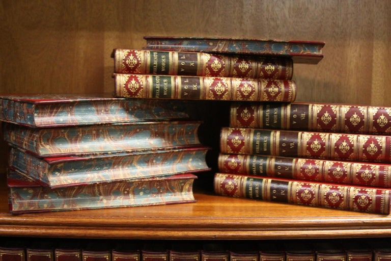 Books, The Works of Henry Fielding, Leather Bound and Antique Collection Set In Excellent Condition For Sale In New York, NY
