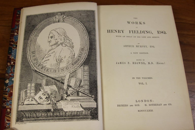 19th Century Books, The Works of Henry Fielding, Leather Bound and Antique Collection Set For Sale