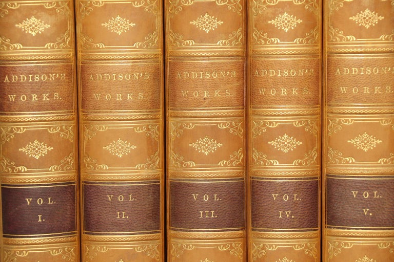 Leather bound. Six volumes. Octavo. Bound in tree quarter tan calf with marbled edges, raised bands, & gilt panels. Very good. Published in Philadelphia by J.B. Lippincott & Co. in 1867.  All listed dimensions are for a single