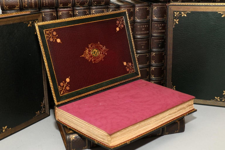 32 volumes. Edinburgh Edition! Bound in full green Morocco with elaborate leather & silk doublunes. By the Monastary Hill Bindery. Top edges gilt with raised bands and gilt on covers and spines. Published in Edinburgh in 1894 by T. & A. Constable