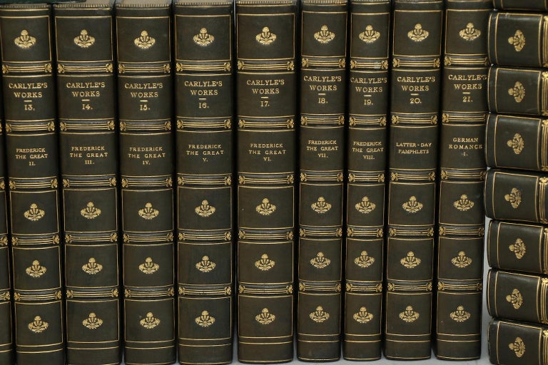 Leatherbound. Thirty volumes. Octavo. Bound in three quarter green calf by Morrell Binders, top edges gilt, raised bands, and gilt panel. Very good. Published in London by Chapman and Hall in 1831.  All listed dimensions are for a single
