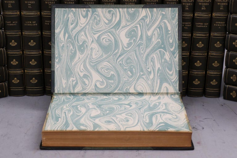 Leather Books, The Works of Thomas Carlyle For Sale