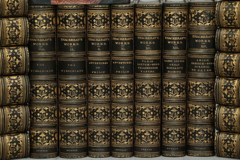 Leatherbound. 22 volumes. Octavo. Bound in half contemporary green morocco with spines gilt with floral and Rococo in compartments, marbled boards and endpapers, & profuse illustration throughout. Very good. Published in London by Smith, Elder, &