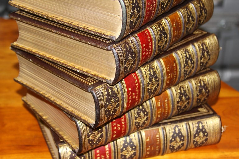 Books, The Writings of William Makepeace Thackeray, Antiques Leather-Bound Set For Sale 6