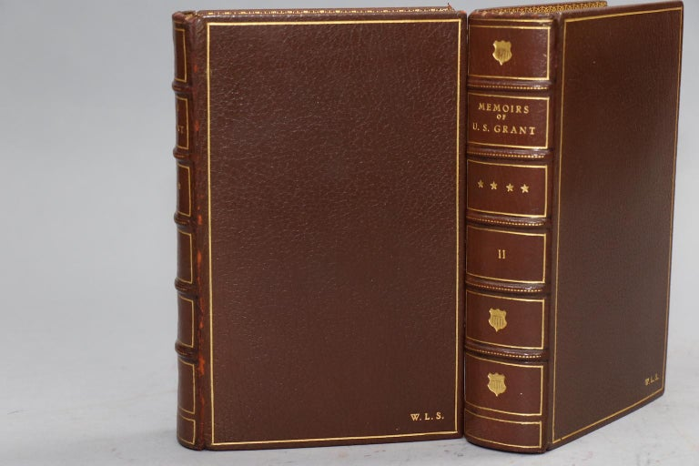 First Edition. Leatherbound. Two volumes. Bound in full brown morocco with top edges gilt, raised bands on to spine, and gilt panels. Very good. Published in New York by Charles L. Webster & Co. in 1885.