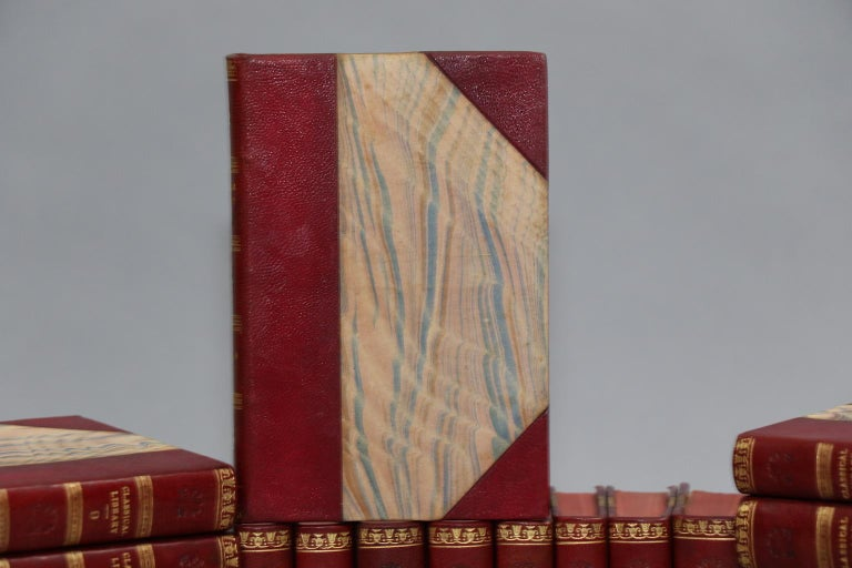 Leatherbound. Fifty-two volumes. Bound in three quarter red Morocco with marbled boards and gilt tooling on spines. Very good. Published in London by A.J. Valpy, M.A. in 1830.  Not all volumes pictured, but all volumes are identical to those