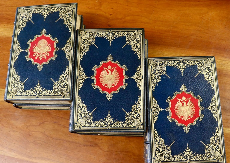 37 volumes (various authors) Countries included: London, America, Morocco, Holland, Constantinople, Rome, Scotland etc.  Edition des Aquarelles, limited to 26 lettered copies, this is #N.  Exquisitely bound in full blue Morocco with silk and