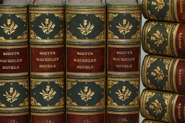 The Centenary Edition. Leatherbound. 25 volumes. Handsomely bound in half dark calf with marbled boards complete with two lettering labels. Illustrated with engraved titles and frontispieces. Very good. Published in Edinburgh by Adam & Charles Black